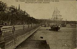 H.M.S. Buzzard The Thames Embankment Postcard