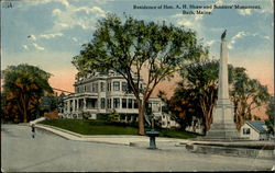 Residence Of Hon. A. H. Shaw And Soldiers Monument
