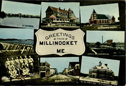 Greetings From Millinocket Multi View Postcard