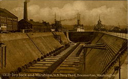 Dry Dock And Warships, U. S. Navy Yard