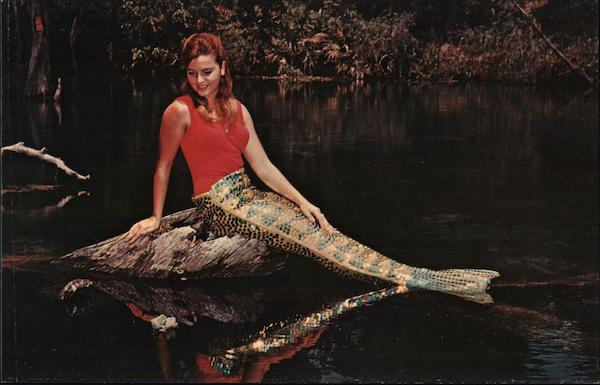 A Lovely Mermaid Relaxes at the Water's Edge Weeki Wachee Florida