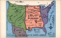True Map of North America - Alabama