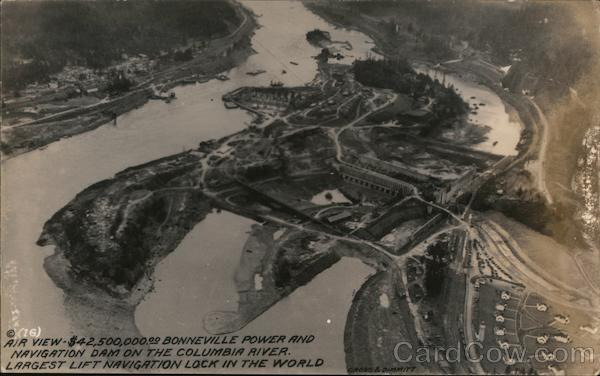 Air View of Bonneville Power and Navigation Dam Miscellaneous