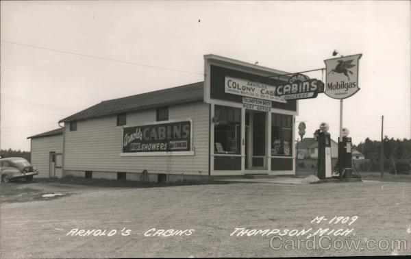 Arnold's Cabins, Gas Station Mobilgas Thompson Michigan