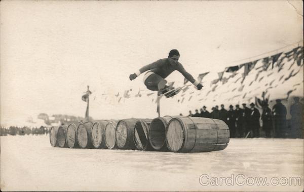 Jumping Barrels on Skates Ice Skating