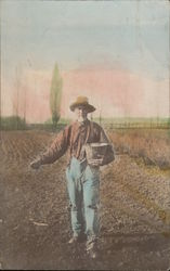 Farmer Planting Crops, Tinted Real Photo