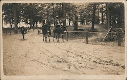 Men Riding Horses on Road Postcard
