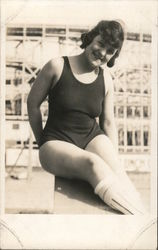 Woman on Pier in Bathing Suit