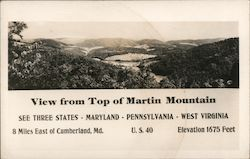 View of Top of Martin Mountain Postcard