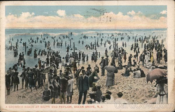 A Crowded Beach at South End Pavilion Ocean Grove New Jersey