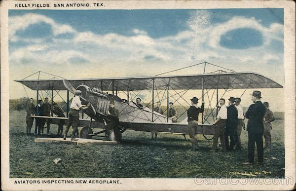 Kelly Fields, Aviators Inspecting New Aeroplane San Antonio Texas