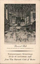 Harvard Hall From an Etching by Samuel Chamberlain Postcard