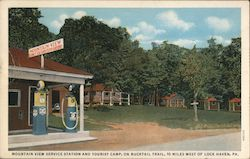 Mountain View Service Station and Tourist Camp on Bucktail Trail Postcard