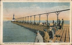When the Perch are Biting at Michigan City Postcard