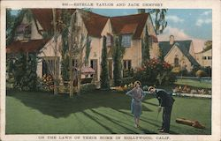 Estelle Taylor and Jack Dempsey on the Lawn of their Home