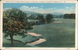 View of Golf Course From Country Club House, Showing Close-up of Green No. 4 Postcard