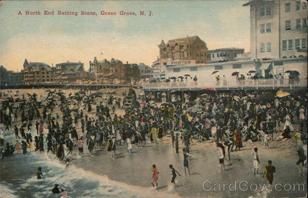 A North End Bathing Scene Ocean Grove New Jersey