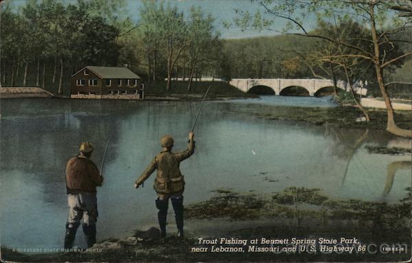 Trout Fishing at Bennett Spring State Park, U.S. Highway 66 near Lebanon Missouri