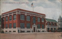 City Hall and Fire Station Postcard