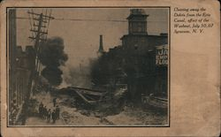 Cleaning Away the Debris From the Erie Canal, Effect of the Washout, July 30, 1907 Postcard