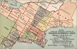 Map Showing Territory Covered by Walker's Automobile Maps Postcard