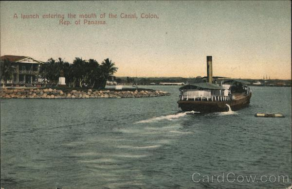 A launch entering the mouth of the Canal, Colon, Rep. of Panama