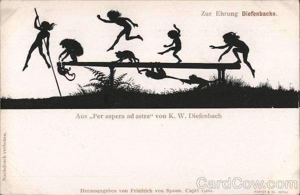 Silhouette children and monkeys playing, from Per aspera ad astra by K.W. Diefenbach