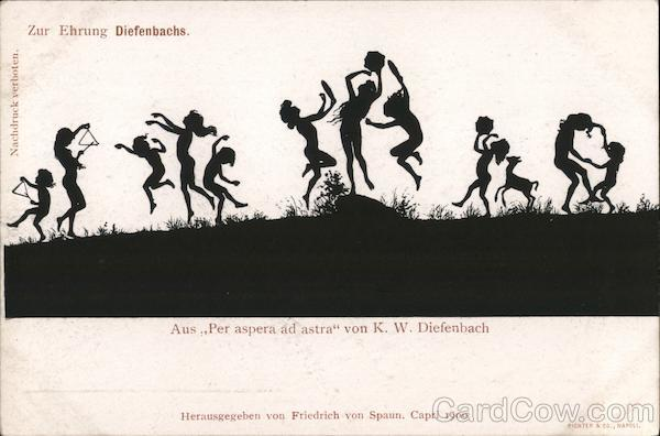 Silhouette children playing, from Per aspera ad astra by K.W. Diefenbach Germany