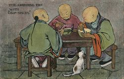 The Chinese eat with chop-sticks Postcard