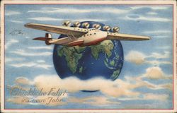 Many Happy Travels in the New Year - Art Deco Postcard