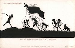 "Silhouette children carrying a flag, from ""Per aspera ad astra"" by K.W. Diefenbach Germany Postcard"