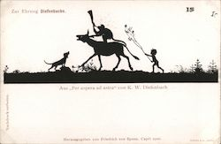 "Silhouette monkey, child and dog travelling, from ""Per aspera ad astra"" by K.W. Diefenbach Germany Postcard"