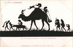 "Silhouette children and monkeys riding animals, from ""Per aspera ad astra"" by K.W. Diefenbach Germany Postcard"