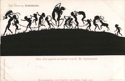 "Silhouette children on parade, from ""Per aspera ad astra"" by K.W. Diefenbach"
