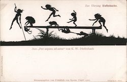 "Silhouette children and monkeys playing, from ""Per aspera ad astra"" by K.W. Diefenbach"