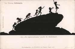 "Silhouette children climbing a boulder, from ""Per aspera ad astra"" by K.W. Diefenbach"