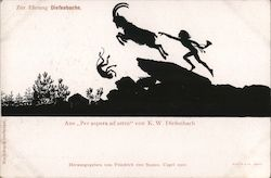 "Silhouette child and animals running, from ""Per aspera ad astra"" by K.W. Diefenbach"
