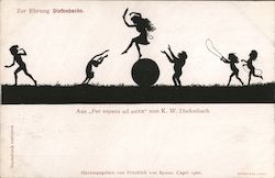 "Silhouette children playing, from ""Per aspera ad astra"" by K.W. Diefenbach"