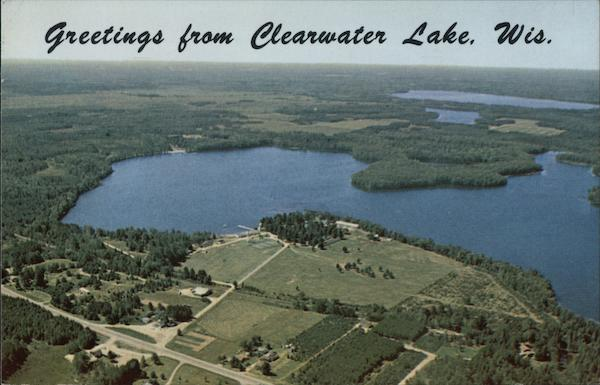 Aerial View on the shore of Clearwater Lake between Three Lakes and Eagle River Wisconsin