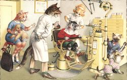 Cats at the Dentist's Office. Postcard