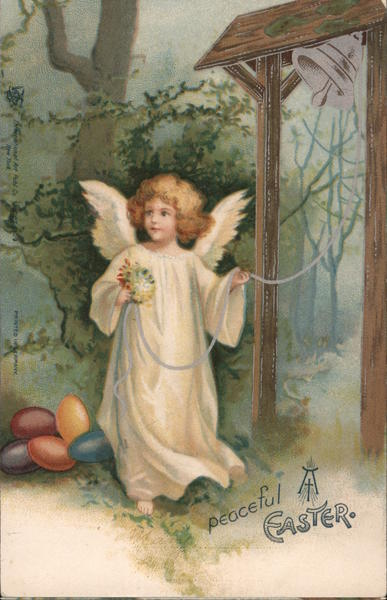 Peaceful Easter -- Angel with Eggs Rings Bell Ellen Clapsaddle