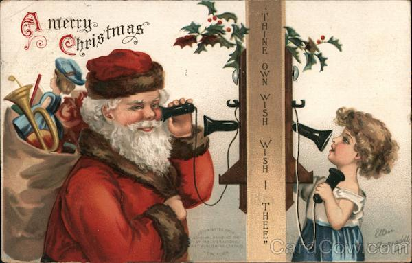 A Merry Christmas -- Santa Claus Talk to a Child on the Telephone
