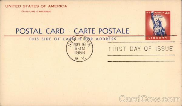 Postal Card - Carte Postal - First Day of Issue Nov. 16 1956