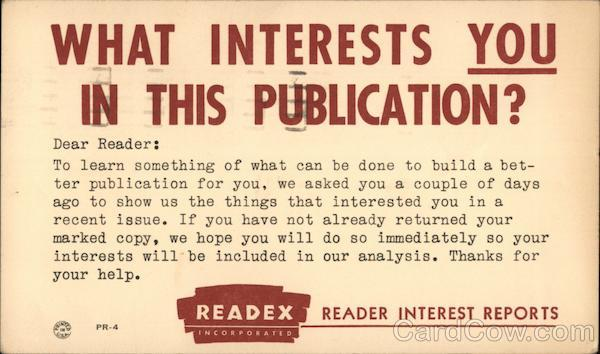 Readex: Reader Interest Reports Correspondence Card