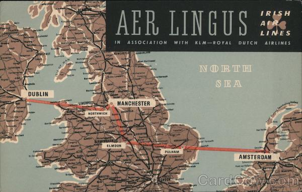 Aer Lingus Irish Air Lines Route Map Maps