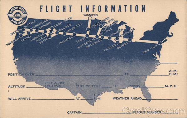 Flight Information for Northwest Airlines Airline Advertising