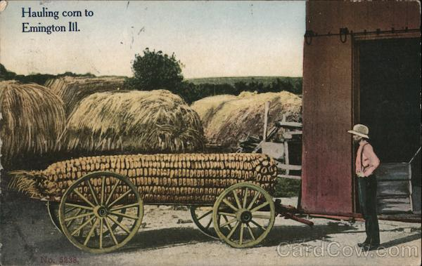 Hauling Corn to Emington, Ill. Exaggeration