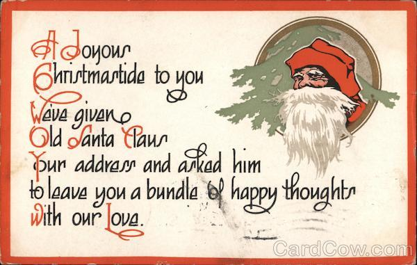 A Joyous Christmastide to You Santa Claus