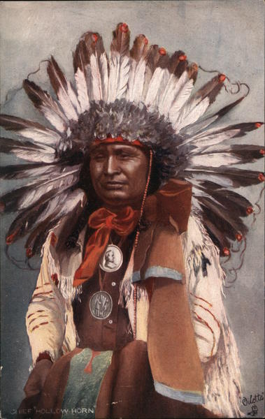 Portrait of Hollow Horn Native Americana