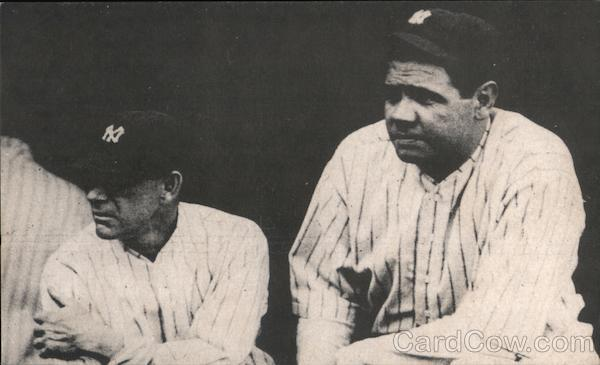 The Babe - Babe Ruth with Manager Miller Huggins Baseball